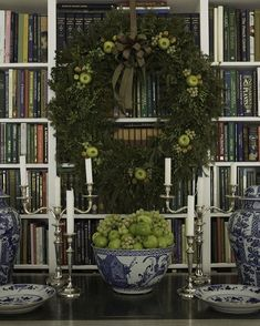"No one decorates for #Christmas more elegantly than @carolyneroehm.  On her blog, she explains this gorgeous holiday vignette... ""Mixing green textures is easy and so pretty. In the wreath above I used a balsam base, which I buy or have made and then add boxwood, different types of juniper; golden or the one with the blue berry.  I alternate the mix of green textures from year to year sometimes using green hypericum berries, snowberry, lemon leaves —what ever I find. In the past I would…"