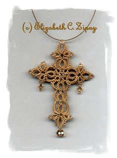 Creating unique shuttle-tatted lace jewelry since Tatting Jewelry, Lace Jewelry, Beaded Jewelry Patterns, Simple Jewelry, Jewellery, Tatting Patterns Free, Cross Patterns, Crochet Patterns, Beaded Cross