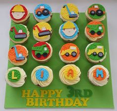 Love the gorgeous colours of these construction cupcakes. Here coloured fondant is cut into construction trucks .  #constructioncupcakes #constructionparty