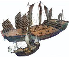 Zheng_He ship compared to Columbus Zheng He, Columbus Ship, Junk Ship, Wooden Ship, Strange History, Medieval Fantasy, Tall Ships, Model Ships, Water Crafts