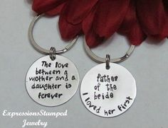 Wedding Set Key Chains-Wedding Gifts, Parents of Bride and Groom, Gift from Bride and Groom, Daughter, Mother, Father, Mother of the Bride, ...