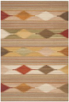 Size x Safavieh Hand-woven Southwestern Kilim Natural/ Multi Wool Rug - x (Natural/Multi - x Brown Beige Area Rugs, Wool Area Rugs, Wool Rugs, Kilim Rugs, Contemporary Rugs, Natural Rug, Scandinavian Style, Woven Rug, Colorful Rugs