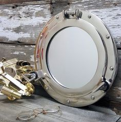 Nickel Finish Porthole Mirror 12""