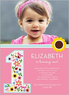 Birthday invite stellarella pinterest birthdays shutterfly offers baby girl first birthday invitations in a variety of styles and colors create custom birthday invites for her special day stopboris Image collections