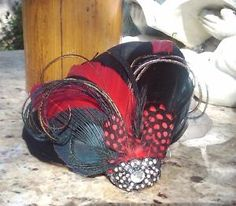 red and black peacock hair accessory