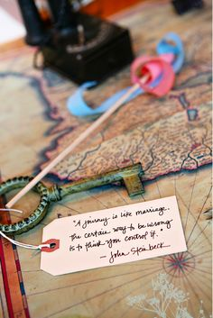Tie in a favorite quote:   27 Creative Ideas For A Travel-Themed Wedding