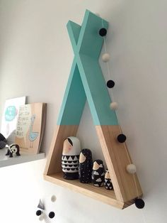 Teepee Shelf: Great for a camping themed #playroom. #decor