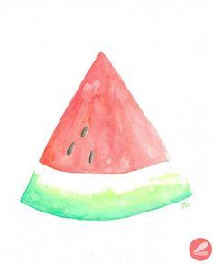 A może by w ten deseń zrobic fotel?:-) //// FREE Printable Watercolor Watermelon Art Print