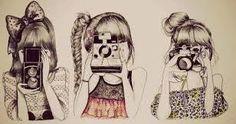 Art by : Kristina Webb My Opinion : Omg, its amazing! Hipster Girl Drawing, Hipster Drawings, Hipster Art, Hipster Fashion, Cute Drawings, Girl Drawings, Drawing Faces, Tumblr Sketches, Tumblr Drawings
