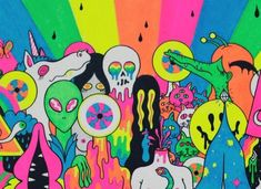 With A Little Help from My Fwends Inside Sleeve / The Flaming Lips - Oliver Hibert - Debut Art Psychedelic Drawings, Trippy Drawings, Art Drawings, Indie Drawings, Psychedelic Pattern, Hippie Painting, Trippy Painting, Hippie Drawing, Desenho Pop Art