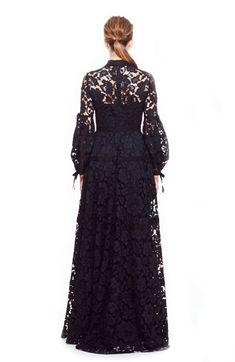 Floral Corded Lace Full Sleeve Seamed Gown