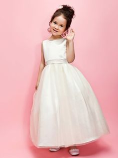Lanting Bride ® A-line / Ball Gown Ankle-length Flower Girl Dress - Satin / Tulle Sleeveless Jewel with Bow(s) / Sash - AUD $142.99 ! HOT Product! A hot product at an incredible low price is now on sale! Come check it out along with other items like this. Get great discounts, earn Rewards and much more each time you shop with us!