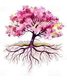 59 ideas family tree tattoo foot tatoo for 2019 Tree Tattoo Foot, Tree Roots Tattoo, Arm Tattoo, Watercolor Tattoo Tree, Watercolor Trees, Watercolor Paintings, Cherry Tree Tattoos, Schulter Tattoo, Tree Illustration