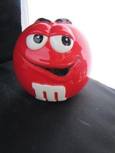 Red M & M ceramic Cookie Jar Candy Dish