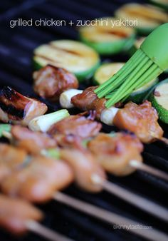 I love these Japanese inspired grilled chicken and zucchini skewers marinated with yakitori sauce and threaded onto bamboo sticks with green onions. They are perfect as an appetizer if you Chicken Zucchini, Grilled Chicken, Cooking Zucchini, Cooking Pasta, Cooking Games, Cooking Turkey, Asian Recipes, Healthy Recipes, Healthy Meals