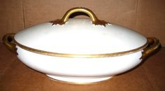 $19.95  VTG White and Gold LIMOGES FRANCE TUREEN COVERED CASSEROLE DISH Gimbel Brothers  in Pottery & Glass, Pottery & China, China & Dinnerware
