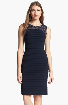 Adrianna Papell Lace Yoke Shutter Pleat Sheath Dress available at #Nordstrom