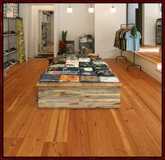 reclaimed heart pine flooring available at Benwood Interiors