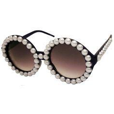 Vintage Inspired Imitation Pearl Round Fashion Circle Sunglasses in Black  with Imitation Pearl finish c7319f6bdf