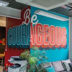 Great colour contrast in this mural by @alexjfowkes - #typegang - free fonts at typegang.com   typegang.com #typegang #typography