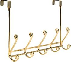 Richards Homewares 2 x 5 Modena Over The Door 5 Hook Metal Rack-Gold Finish * You can find more details by visiting the image link. (This is an affiliate link) Over The Door Hooks, Door Rack, Standing Coat Rack, Metal Rack, Wall Mounted Coat Rack, Rack Design, Entryway Furniture, Hanging Racks, Steel Wall