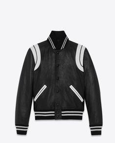 Saint Laurent Classique Teddy Veste en noir et blanc en cuir | YSL.com