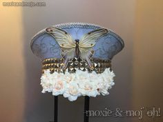 "Captain's Hat: ""Butterfly in Bloom"" ~ perfect for Festivals, Coachella, Desert Hearts and Burning Man ~ Lights up too! by MoxieandMojoFashion on Etsy"