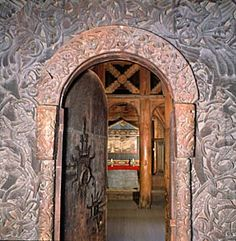 Borgund Stave Church portal from the Archives of Sogn og Fjordane