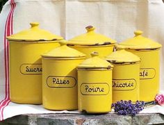 Yellow Enamel Kitchen Canisters Vintage By Lavienostalgique