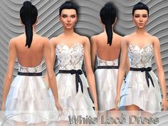 The Sims Resource: White Lace Dress by Pinkzombiecupcake • Sims 4 Downloads