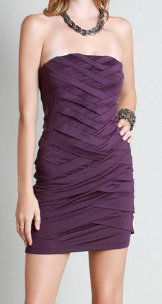 40 Purple Strapless Bandage Cocktail Dress