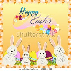 Easter bunnies, eggs flowers on gradient yellow background. Stylish holiday background, Vector illustration.