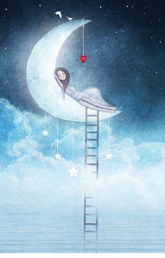'I'm in a good space' iPhone Case by theArtoflOve Images Ciel, Art Et Illustration, Illustrations, Art Fantaisiste, Art Mignon, Imagination Art, Good Night Image, Beautiful Moon, Cute Cartoon Wallpapers