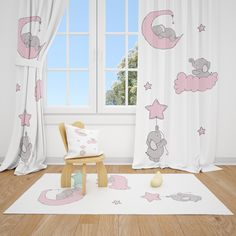 Excited to share this item from my #etsy shop: Cute Elephants and Moon Cloud Star Baby Girl Room Curtain Nursery Curtains Window Curtains