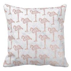 #Rose gold geometric flamingos white marble pattern throw pillow - #white #marble #gifts