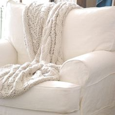 white large comfy armchair