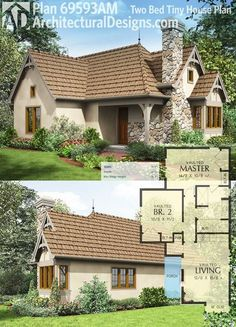 Architectural Designs Tiny House Plan gives you 2 bedrooms and an open living area (see Tiny House Plan for a smaller 1 bedroom version). -I wouldn't include the second room, leaving more kitchen and living space Cottage House Plans, Country House Plans, Small House Plans, Cottage Homes, House Floor Plans, Cottage House Designs, Small Room Design, Bed Design, Cabin Design