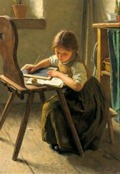 The Homework ~ Simon Glücklich – Polish-born German). Every parent is a home-schooler . This painting reminds me of my homeschool days. The lonlieness is something I am can fairly relate to this girl. I like the old timey setting the artist has set. Paintings I Love, Beautiful Paintings, Oeuvre D'art, Love Art, Painting & Drawing, Art History, Amazing Art, Art For Kids, Kids Study