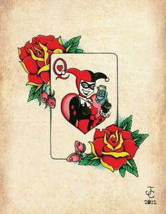 Harley Quinn néo-traditionnel Old School Tattoo Flash Print - Tattoo MAG Asian Tattoos, Trendy Tattoos, Cool Tattoos, Hand Tattoos, Sleeve Tattoos, Batman Tattoo, Old School Ink, Flash Tattoo, Neo Traditional