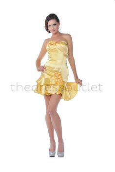 Gorgeous Strapless Mini Dress Pleated Trendy Accented Flowers Formal On Sale Now!