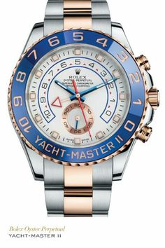 Rolex Yacht-Master II in 904L steel and Everose gold with a blue Cerachrom Ring Command bezel, white dial and Oyster bracelet. #Yachting #RolexOfficial