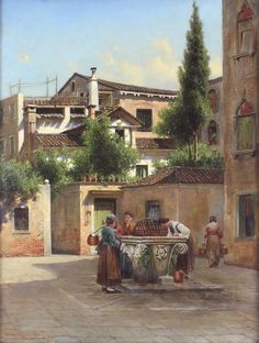 Henry Ferguson Antique Original Oil Painting Venice City Figures Signed Framed Venice City, Oil, Mansions, The Originals, Antiques, House Styles, Frame, Painting, Antiquities