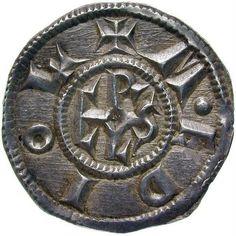 """A """"denarius"""" of Charlemagne, minted after 793 BCE.- CHARLEMAGNE 5) ASPECTS GENERAUX DU REGNE. 5.4 POLITIQUE ECONOMIQUE, 5: l'autre permanente et régulière: le revenu des domaines appartenant à la dynastie. Cette dernière seule est susceptible de fournir aux besoins courants les ressources nécessaires. Charles s'en est occupé avec soin et le Capitulaire de Villis prouve, par la minutie de ses détails, l'importance qu'il attachait à la bonne administration de ses terres."""