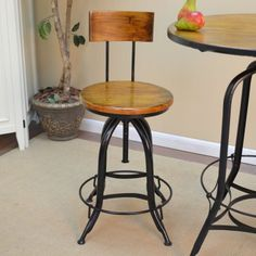 Carolina Adjustable Swivel Weston Stool with Back - Black