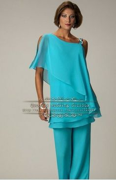 Free shippinggreen Latest Fashion Chiffon mother of the bride pants suits US $135.00
