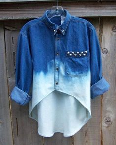 STUDDED DENIM SHIRT contrast camo pocket high low hem long sleeve dip dye blue…