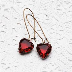 Red HEART Earrings  Rhinestone LOVE Ruby Red  by redtruckdesigns