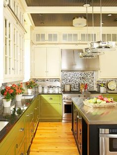 Green cupboards!   Love this kitchen all around