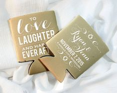 love laughter and happily ever after wedding favors personalized wedding favors customized wedding can coolers khaki