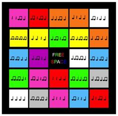 Use as entry task for choir journal- one to three rhythms that they dictate then see if they can find on their bingo cards. Go till there's a bingo, a few weeks? Music Lessons For Kids, Music Lesson Plans, Music For Kids, Piano Lessons, Piano Teaching, Learning Piano, Music Worksheets, Bulletins, Primary Music
